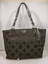 Image is loading COACH-MADISON-BLACK-SIGNATURE-FABRIC-CHAIN-TOTE-SATCHEL-