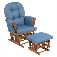 nursery wooden brown glider rocker chair ottoman set with denim blue cushions