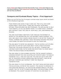 compare contrast essay ideas