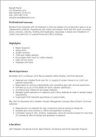 Sample Carpenter Resume Glamorous Professional Finish Carpenter