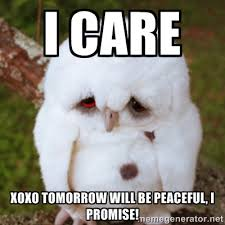 I Care XOXO Tomorrow will be Peaceful, I promise! - Sad Owl Baby ... via Relatably.com