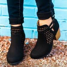 black cut out boots round toe laser cut wooden block heel ankle boots image 1