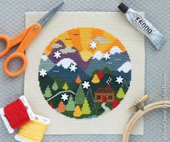 Fuzzy Fox Designs Woodland Cottage Cross Stitch Pattern Pdf Mountain Cross