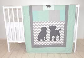 baby boy bedding puppy quilt dog nursery blanket chevron kids quilt mint green gray bedding labrador chevron blanket custom made