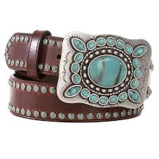women s 3d brown leather turquoise studded belt loading image
