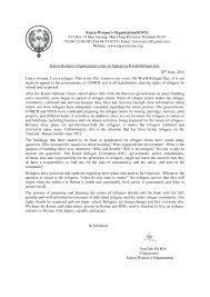 Letter World Karen Womens Organization Letter Of Appeal On World Refugee Day