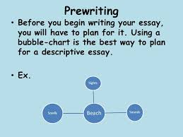 descriptive writing ppt video online  prewriting before you begin writing your essay you will have to plan for it