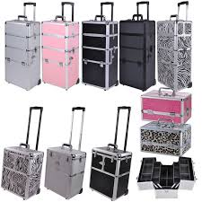 pro aluminum rolling makeup train case salon artist cosmetic organizer trolley