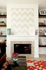 Ivory Floating Shelves Custom Living Rooms White Gray Canvas Chevron Herringbone Zigzag Art