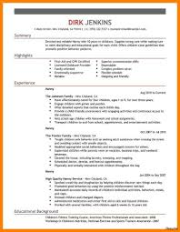 Babysitter Bio Example Resume For Nanny Sample Cv With Regard