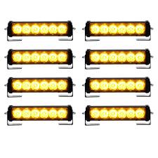 Yellow Light Bars For Trucks 8pcs Amber 6 Led 12v Flashing Warning Emergency Strobe Light Bars Mounting Brackets Car Truck