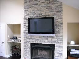 image of brick veneer fireplace and tv
