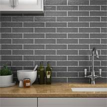 kitchen wall tiles. Beautiful Wall Mileto Brick Grey Gloss Ceramic Wall Tile  75 X 300mm Medium Image For Kitchen Tiles