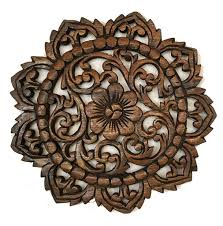 Wood Carved Wall Decor Round Wood Plaque Oriental Carved Lotusteak Wood Wall Hanging