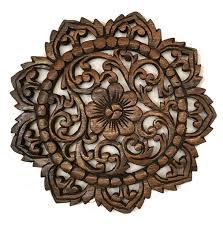 round wood plaque oriental carved lotus teak wood wall hanging rustic wall decor on tiki wood wall art with round wood plaque oriental carved lotus teak wood wall hanging
