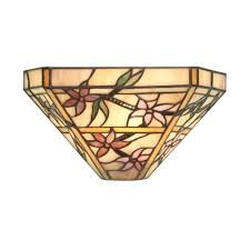 clematis tiffany single wall light with pink and purple art glass 64024