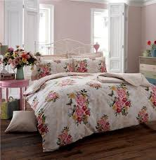 single size cream vintage style rose duvet set quilt cover bed