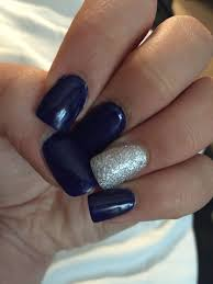 Navy Blue Nail Designs For Prom Acrylic Nails Done With Dark Navy Blue And Silver Sparkles