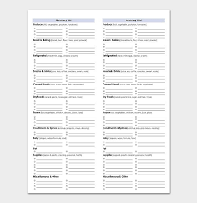 Template For Shopping List Shopping List Template By Category Sample 1099
