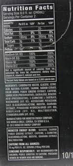 monster can nutrition facts. Interesting Nutrition Carbonated Water Glucose Citric Acid Natural Flavors Taurine Sodium  Citrate Color Added Panax Ginseng Root Extract Caffeine Sorbic Sucralose  Intended Monster Can Nutrition Facts