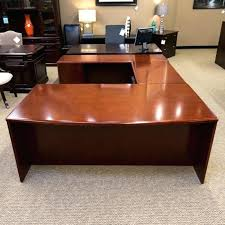 office desk cherry used left u shaped executive cherrywood