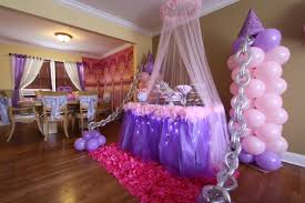 Princess Party Decoration Balloon Decor By Front Window And Tulle With Lights Around Table