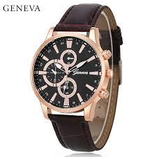 geneva men s stainless steel quartz brown leather watch gold