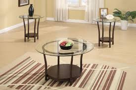 3 piece coffee table set round glass top