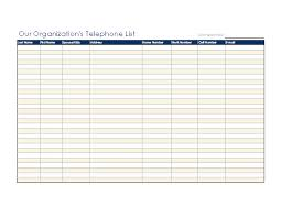contact spreadsheet template organizational telephone list office templates