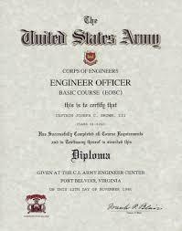 army engineer officer basic school certificate us army engineer officer basic course diploma