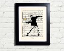 banksy art throwing flowers picture graffiti wall art print instant digital download a4 printable poster wall hanging home decor gift idea on banksy wall art prints with banksy wall art etsy