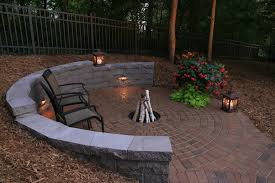 half circle retaining wall and fire pit