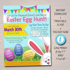 Editable Easter Egg Hunt Flyer Printable Invite Easter Party Etsy