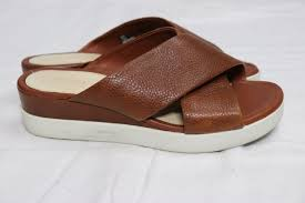 ecco brown leather slides womens sz 37