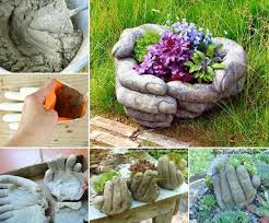 Concrete Hands Pot