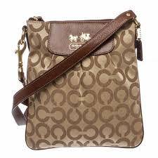 Coach Brown Canvas Swingpack Crossbody Bag 41992