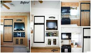 Incredible interior design ideas for your rv camper Airstream Fifth Wheel Rv Remodel Before And After Photo Of Kitchen With White Cabinets Roommates Wall Decals Five Fifth Wheel Remodels You Dont Want To Miss Go Rving