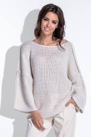 Бежевый <b>свитер</b> oversize с очень широкими рукавами <b>Fobya</b> ...