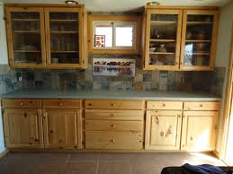 picturesque brown teak kitchen cabinet with subway slate backsplash added great black granite inspiration tiles
