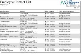 employee contact info employee contact list arts management systems