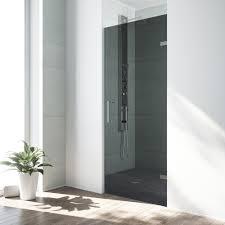 frameless pivot shower door in chrome hardware