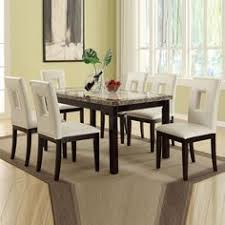 7 pc cream marble look table bycast leather upholstery chair kitchen dining set