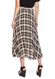 Designer Plaid Skirt Womens Plaid Pleated Midi Skirt Rich Black Vince Camuto Designer