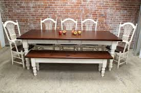 Black Distressed Kitchen Table With Bench Farm Benches Diy
