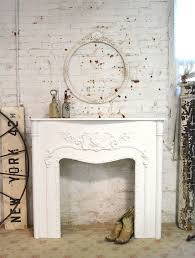 painted cottage chic shabby white fireplace mantle