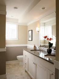 Cream and Grey Bathroom Color Painting Ideas - grey colour above out cream  tiles