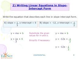 confidential 9 2 writing linear equations in slope intercept form write the equation that