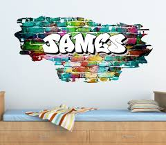 Personalised Graffiti Brick & Name Wall Sticker,Decal, Graphic tr45