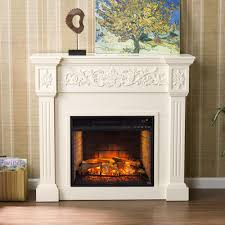w carved infrared electric fireplace in ivory