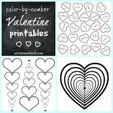 valentine color by number printables